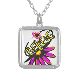 Believe half flower design silver plated necklace