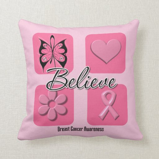 Believe Inspirations Breast Cancer Throw Pillow