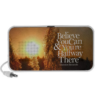 Believe You Can Prairie Sunset Motivational Quote PC Speakers