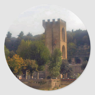 Bell Tower in Florence Classic Round Sticker