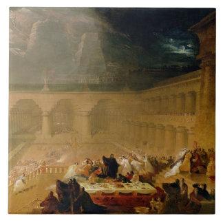 Belshazzar's Feast (oil on canvas) Large Square Tile