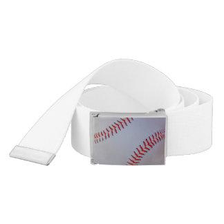 Belt with baseball image on buckle
