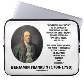 Ben Franklin Money Prolific Generating Nature Laptop Computer Sleeve