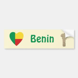 Benin Flag Heart + Map Bumper Sticker