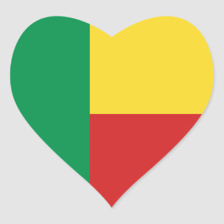 Benin Flag Heart Sticker