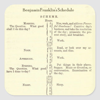 Benjamin Franklin Autobiography Schedule stickers