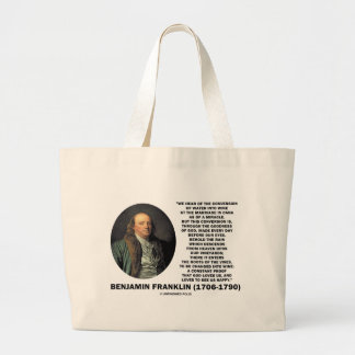 Benjamin Franklin Conversion Of Water Into Wine Large Tote Bag
