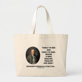 Benjamin Franklin Healthy Wealthy Wise Quote Jumbo Tote Bag