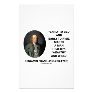 Benjamin Franklin Healthy Wealthy Wise Quote Personalized Stationery
