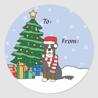 Bernese Mountain Dog and Christmas Tree Classic Round Sticker