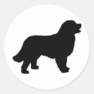 Bernese Mountain Dog (black silhouette) Classic Round Sticker