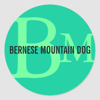 Bernese Mountain Dog Breed Monogram Classic Round Sticker