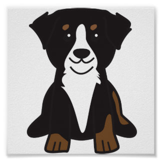 Bernese Mountain Dog Cartoon Poster