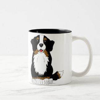 Bernese Mountain Dog Cartoon Two-Tone Coffee Mug