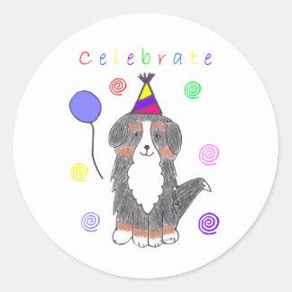 Bernese Mountain Dog Celebrate Classic Round Sticker