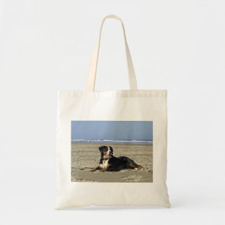 bernese-mountain-dog-layin on beach.png tote bag