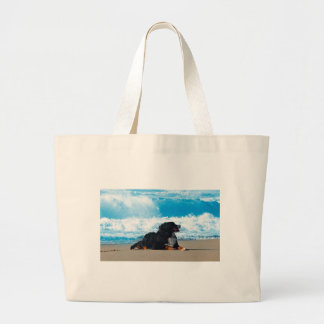 Bernese Mountain Dog on Beach Large Tote Bag