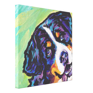 Bernese Mountain Dog Pop Dog Art on Wrapped Canvas