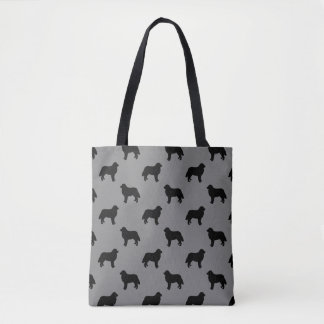 Bernese Mountain Dog Silhouettes Pattern Grey Tote Bag