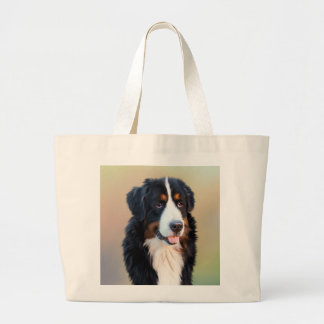 Bernese mountain dog, the obedient dog large tote bag