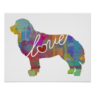 Bernese Mountain Dog Watercolor Poster