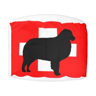 bernese mt dog silhouette switzerland flag pouf