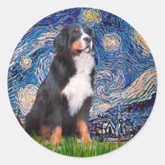 Bernese - Starry Night Classic Round Sticker