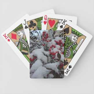 Berries in the snow bicycle playing cards