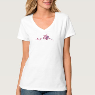 Berry and Blue Flowers  at Neckline T-Shirt