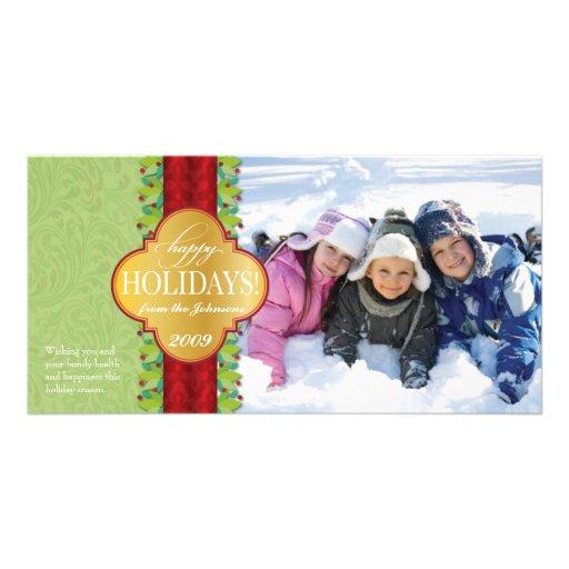 Berry Band Holiday Horizontal - Green Photo Greeting Card