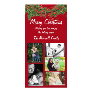 Berry Red Christmas Family Photo Card