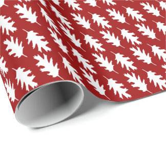 Berry Red Oak Leaf Christmas Pattern Wrapping Paper