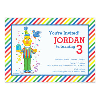 Bert Striped Birthday 13 Cm X 18 Cm Invitation Card