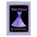 BEST FRIEND - Maid of Honour Purple Gown Plaid Cards