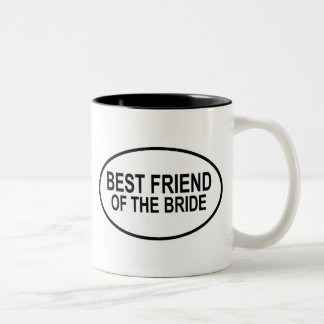 Best Friend of the Bride Black Wedding Oval Two-Tone Coffee Mug