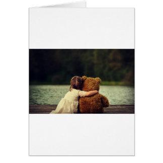 Best Friends A Little Girl and Her Teddy Bear Card