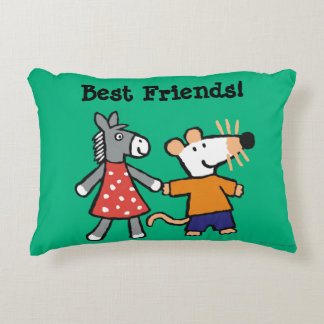 Best Friends Maisy and Dotty Hold Hands Decorative Cushion