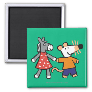Best Friends Maisy and Dotty Hold Hands Square Magnet