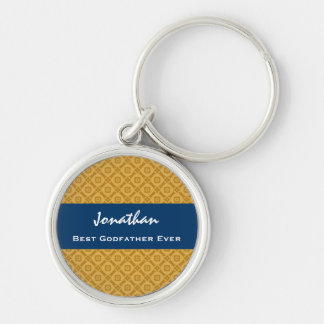 Best GODFATHER Gold and Navy Custom Gift Idea Silver-Colored Round Key Ring