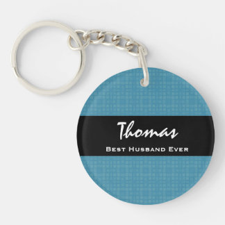 Best Husband Ever Blue and Black Custom Name Double-Sided Round Acrylic Key Ring