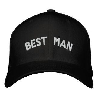 Best man text embroidered hats