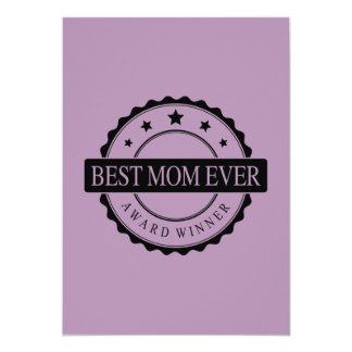 Best mom ever - Winner Award - Black 13 Cm X 18 Cm Invitation Card