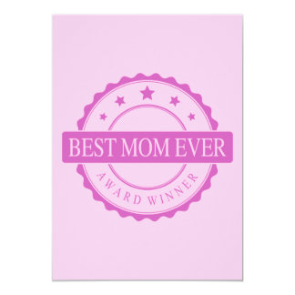Best Mom Ever - Winner Award - Pink 13 Cm X 18 Cm Invitation Card
