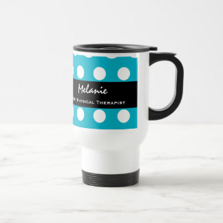 Best PHYSICAL THERAPIST Aqua White Polka Dots V17A Stainless Steel Travel Mug