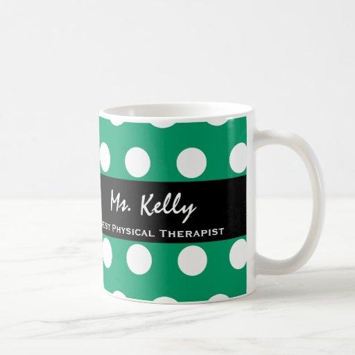 Best PHYSICAL THERAPIST Green White Polka Dots V16 Mug