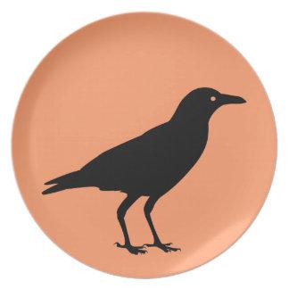 Best Price Black Crow Orange Halloween Party Plates