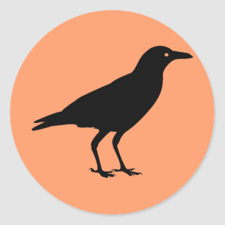 Best Price Black Crow Orange Halloween Round Sticker