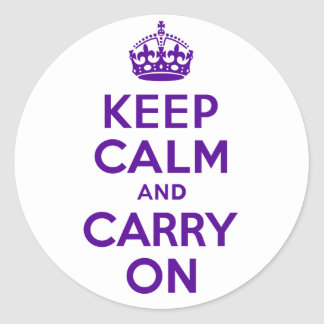 Best Price Keep Calm And Carry On Purple Round Sticker