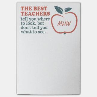 BEST TEACHERS custom monogram Post-It notes