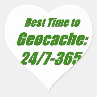 Best Time to Geocache Heart Sticker